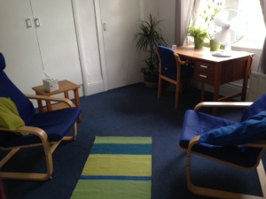 Spacious therapy room.